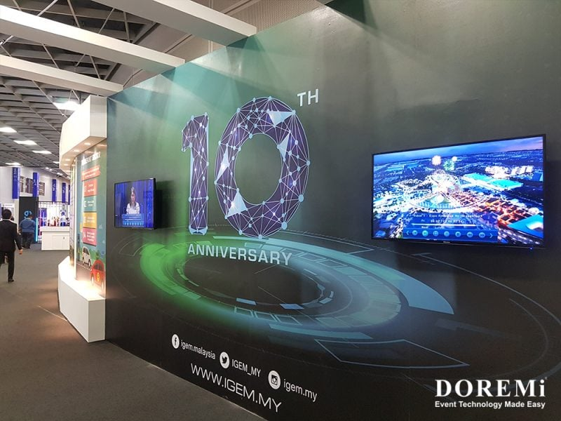 IGEM 2019 Television rental Service lighting speaker projector event Mic Excibition Green 9